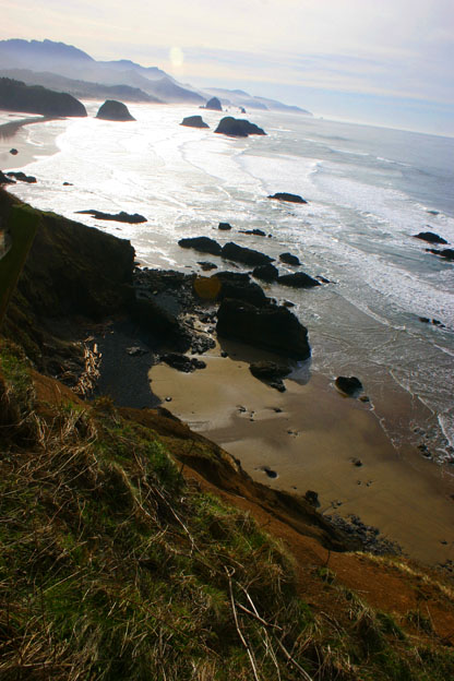 Looking south from Ecola State Park towards Cannon Beach and Haystack Rock